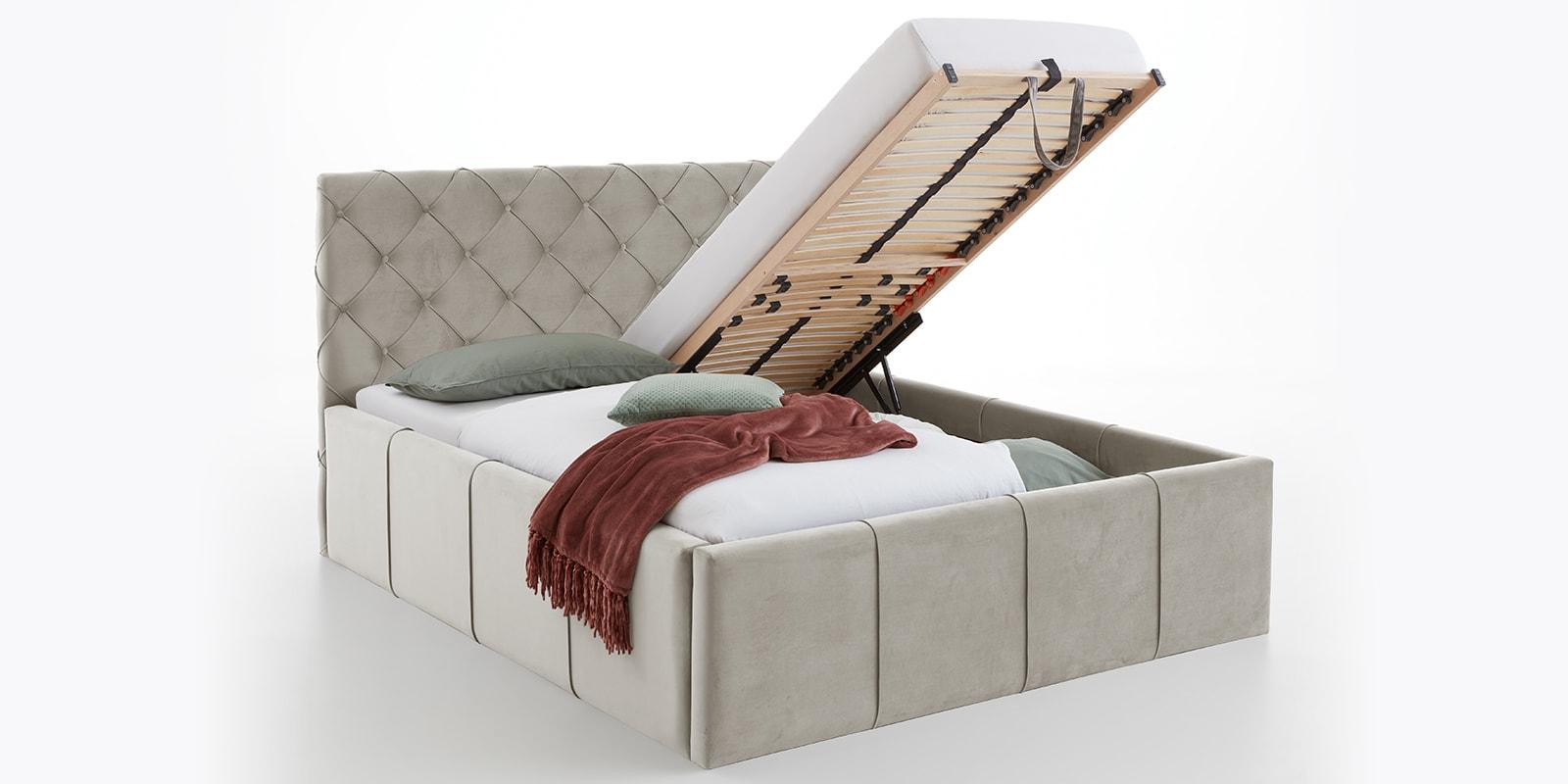 Moebella24 - Bett - mit - Bettkasten - Nelly - Samt - Altweiß -XXL-Stauraum - Keder - Bettkasten-vormontiert - Kopfteil - mit - Knopfheftung