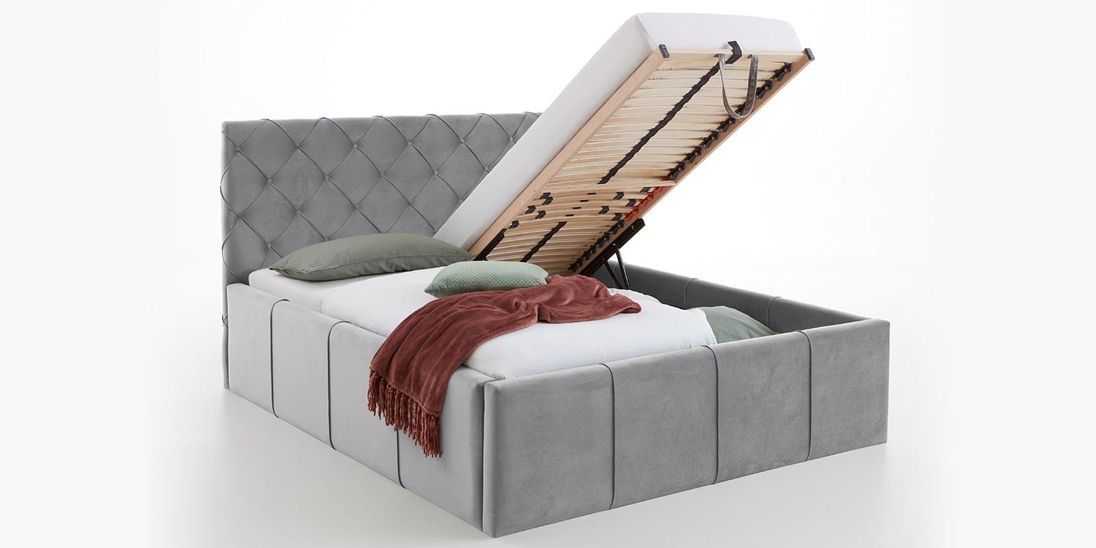 Moebella24 - Bett - mit - Bettkasten - Nelly - Samt - Grau -XXL-Stauraum - Keder - Bettkasten-vormontiert - Kopfteil - mit - Knopfheftung