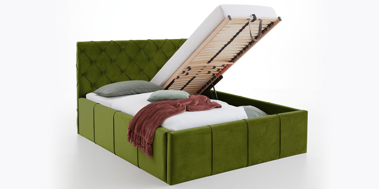 Moebella24 - Bett - mit - Bettkasten - Nelly - Samt - Oliv - XXL-Stauraum - Keder - Bettkasten-vormontiert - Kopfteil - mit - Knopfheftung