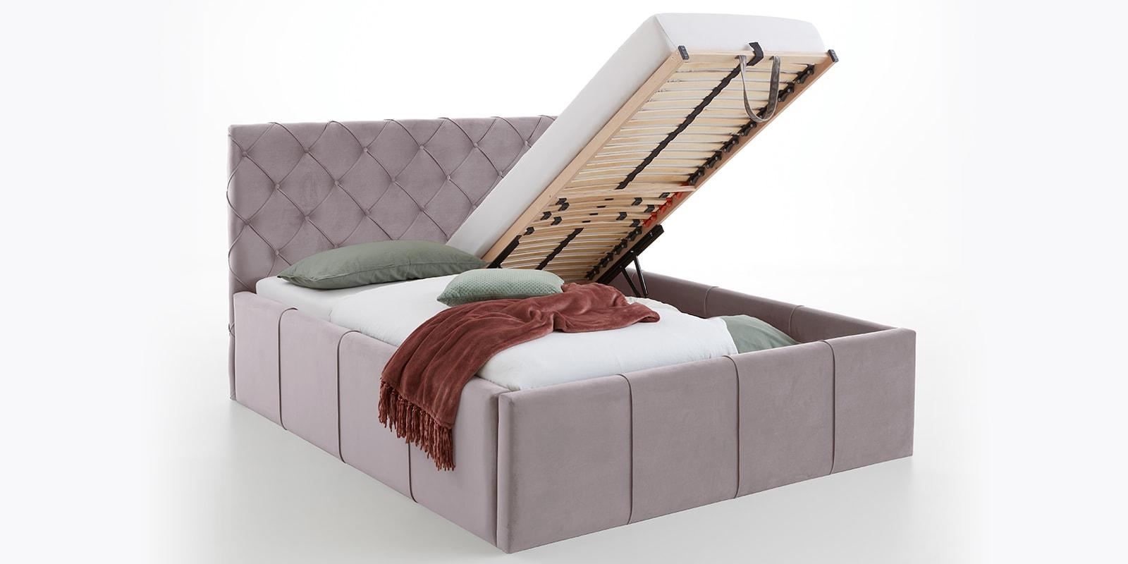 Moebella24 - Bett - mit - Bettkasten - Nelly - Samt - Rose - XXL-Stauraum - Keder - Bettkasten-vormontiert - Kopfteil - mit - Knopfheftung
