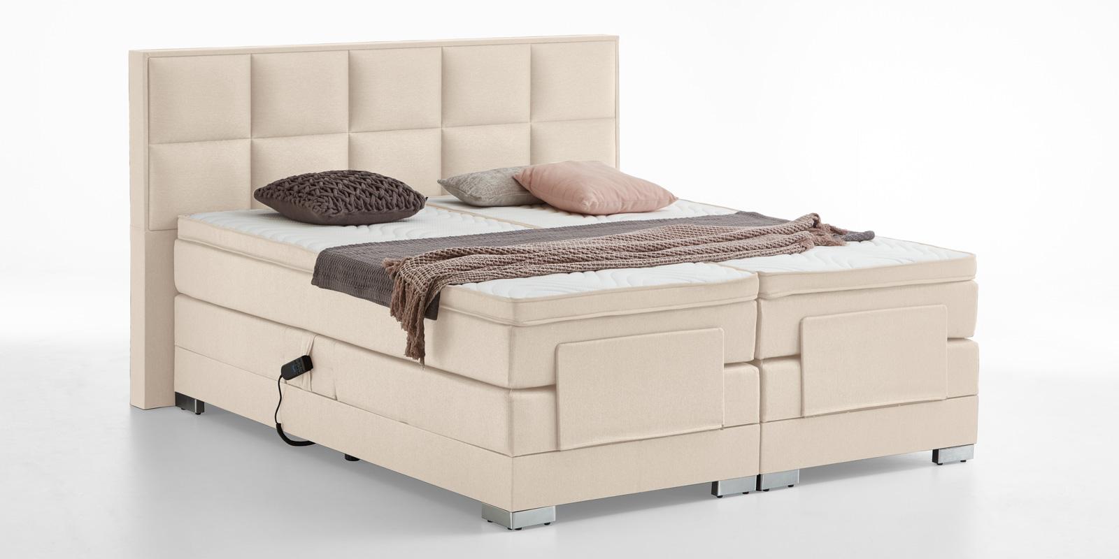 Boxspringbett elektrisch verstellbar in beige bequem günstig online bestellen