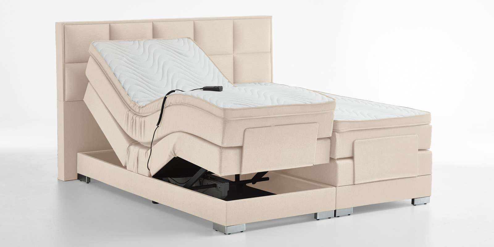 Boxspringbett elektrisch verstellbar in beige bequem günstig online bestellen bei Moebella24
