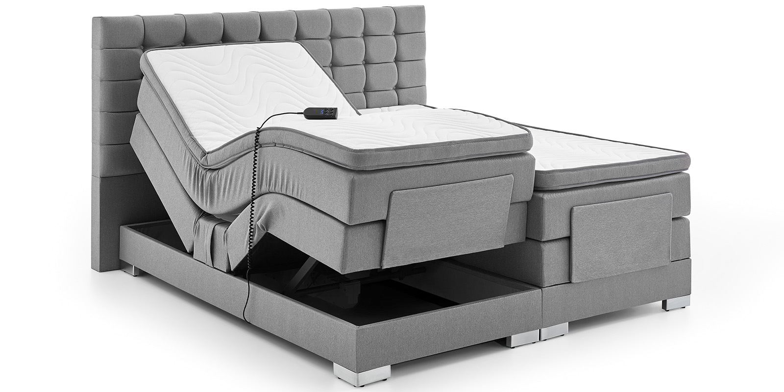 boxspringbett elektrisch verstellbar grau 180x200cm dublin moebella24. Black Bedroom Furniture Sets. Home Design Ideas