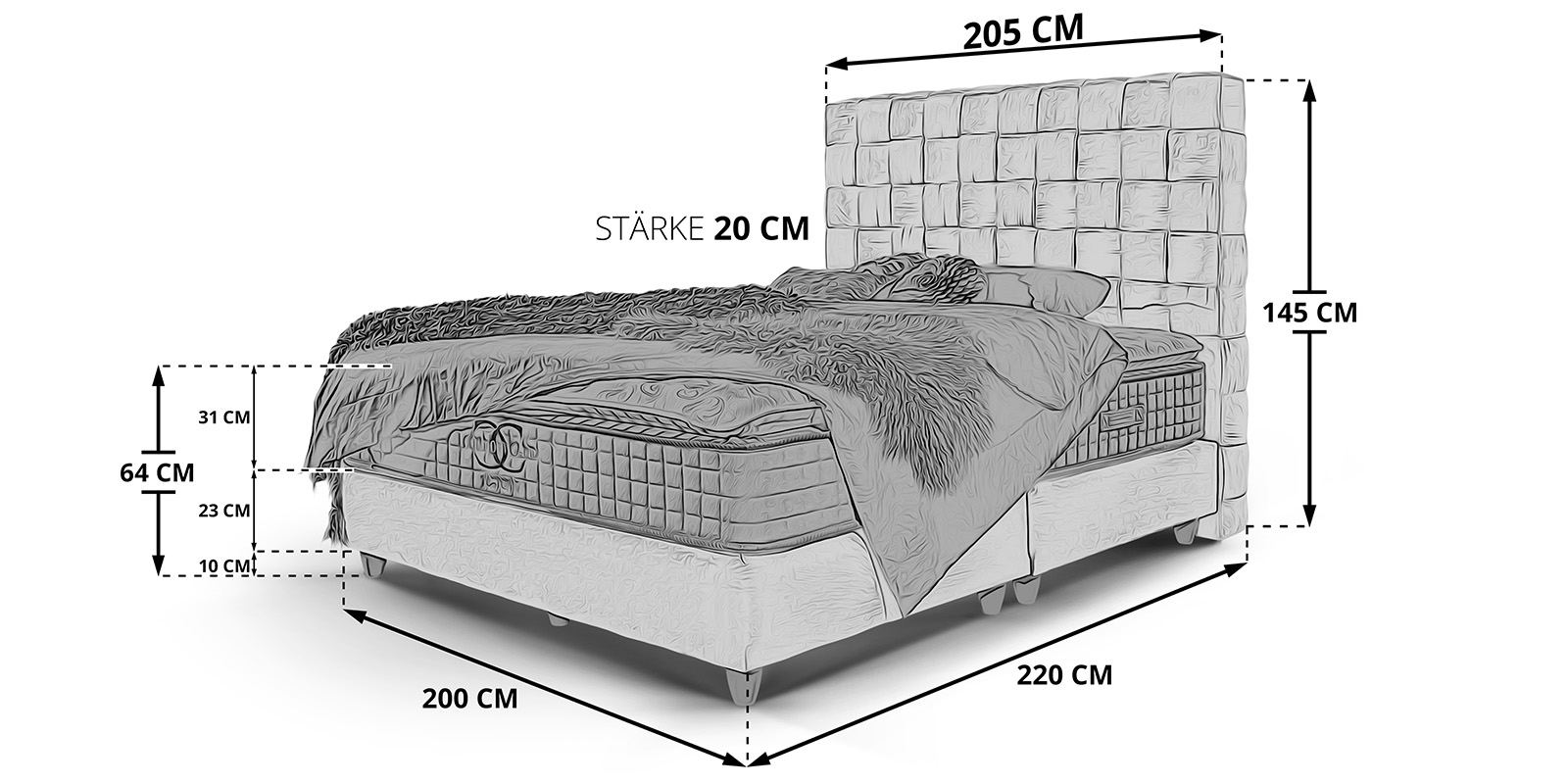 Boxspringbett Miami Skizze 200x200cm