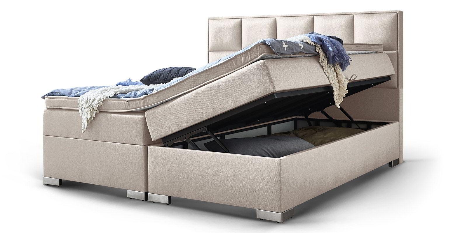 Boxspringbett Arizona Mit Bettkasten Stauraum In Altweiss Jetzt Günstig Kaufen Bei Moebella24