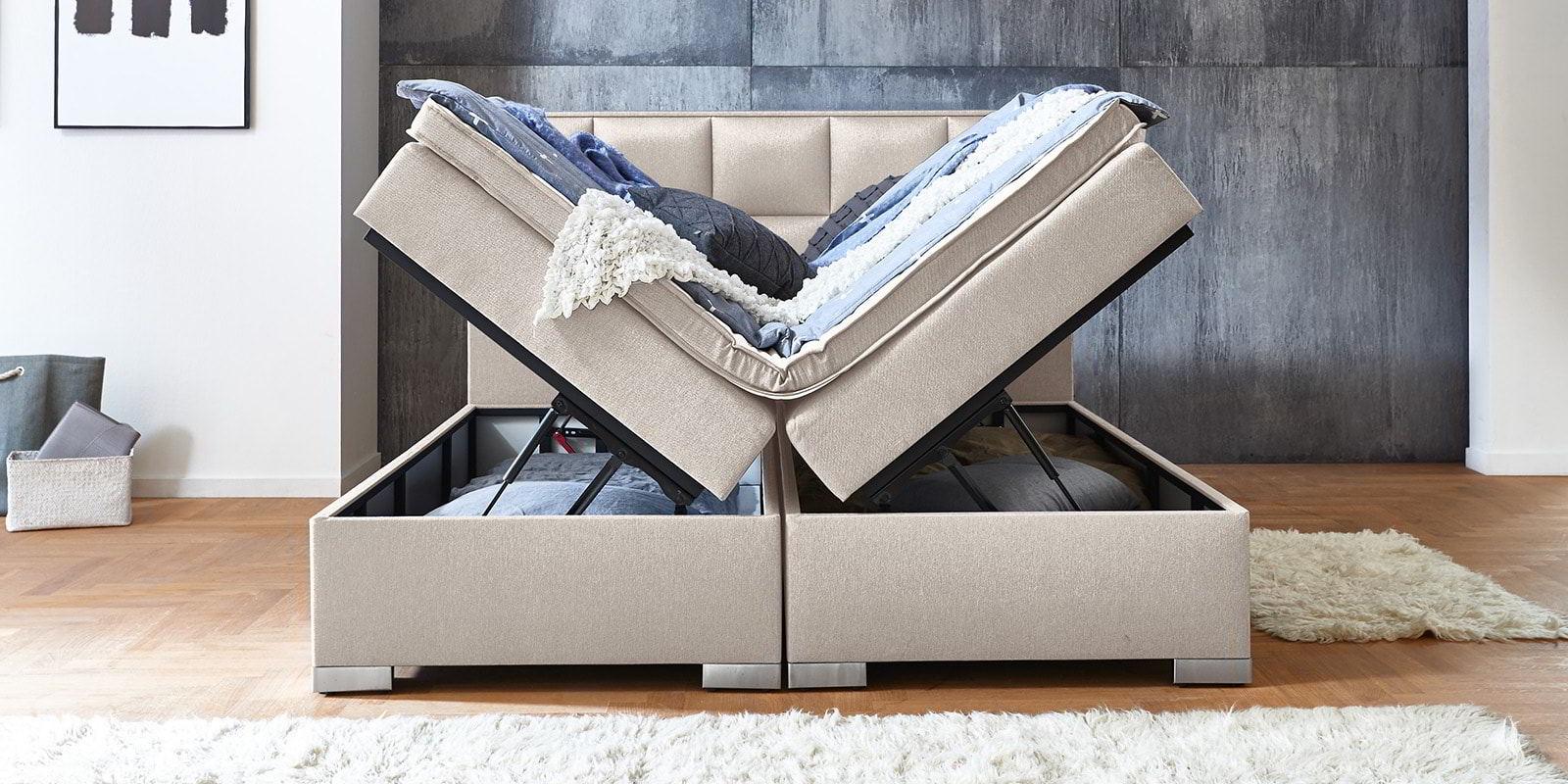 Boxspringbett Arizona In Altweiss Mit Bettkasten Und Stauraum Günstig Online Bei Moebella24 Kaufen