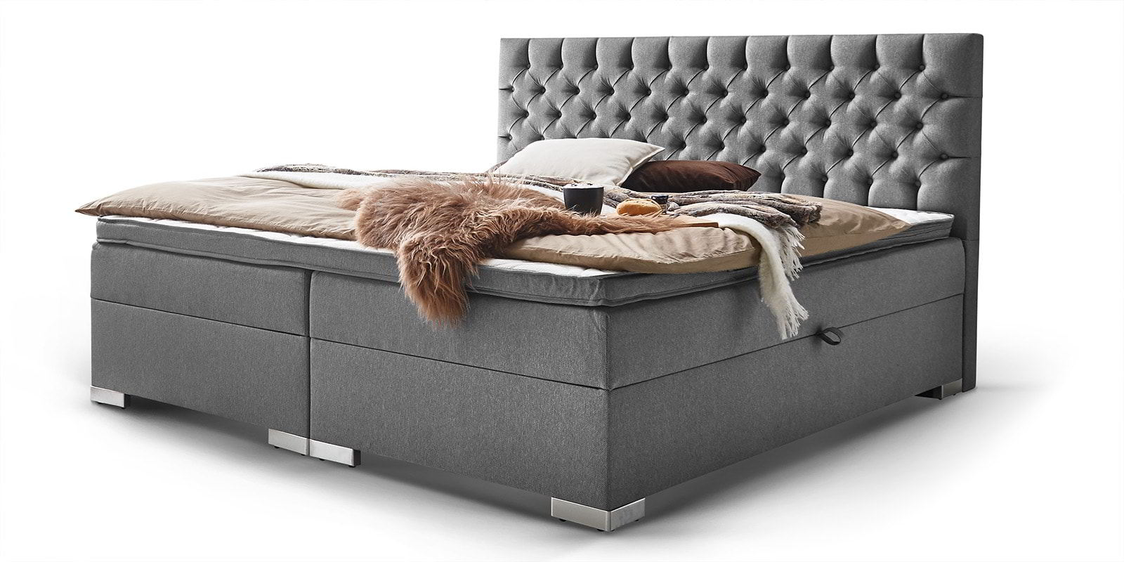 Boxspringbett mit Bettkasten London grau