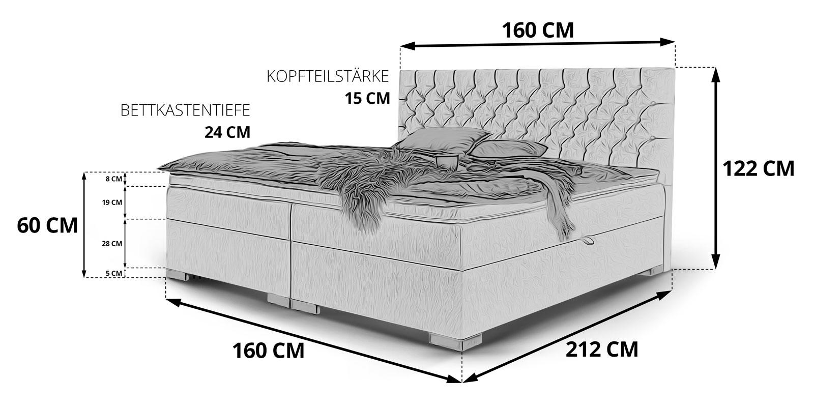 Boxspringbett Mit Bettkasten Stauraum Bett London Skizze 160x200