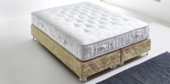 Moebella24 - Boxspringbett ohne Kopfteil in gold mit Acryl-Füße in Glasoptik