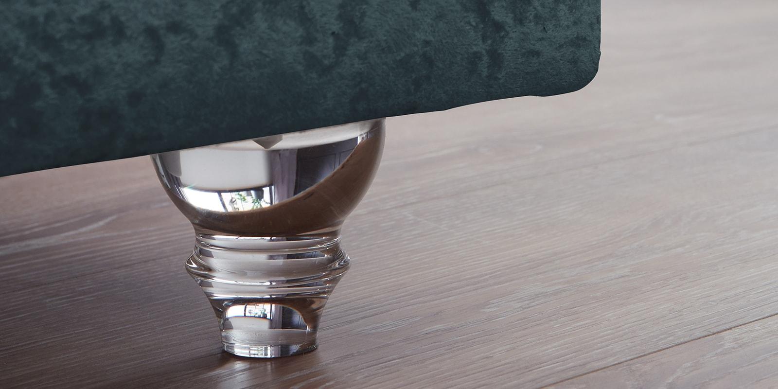 Moebella24 - Boxspringbett Roma - Chesterfield Stil mit Knopfheftung - samt petrol - Acryl Füße in Glasoptik