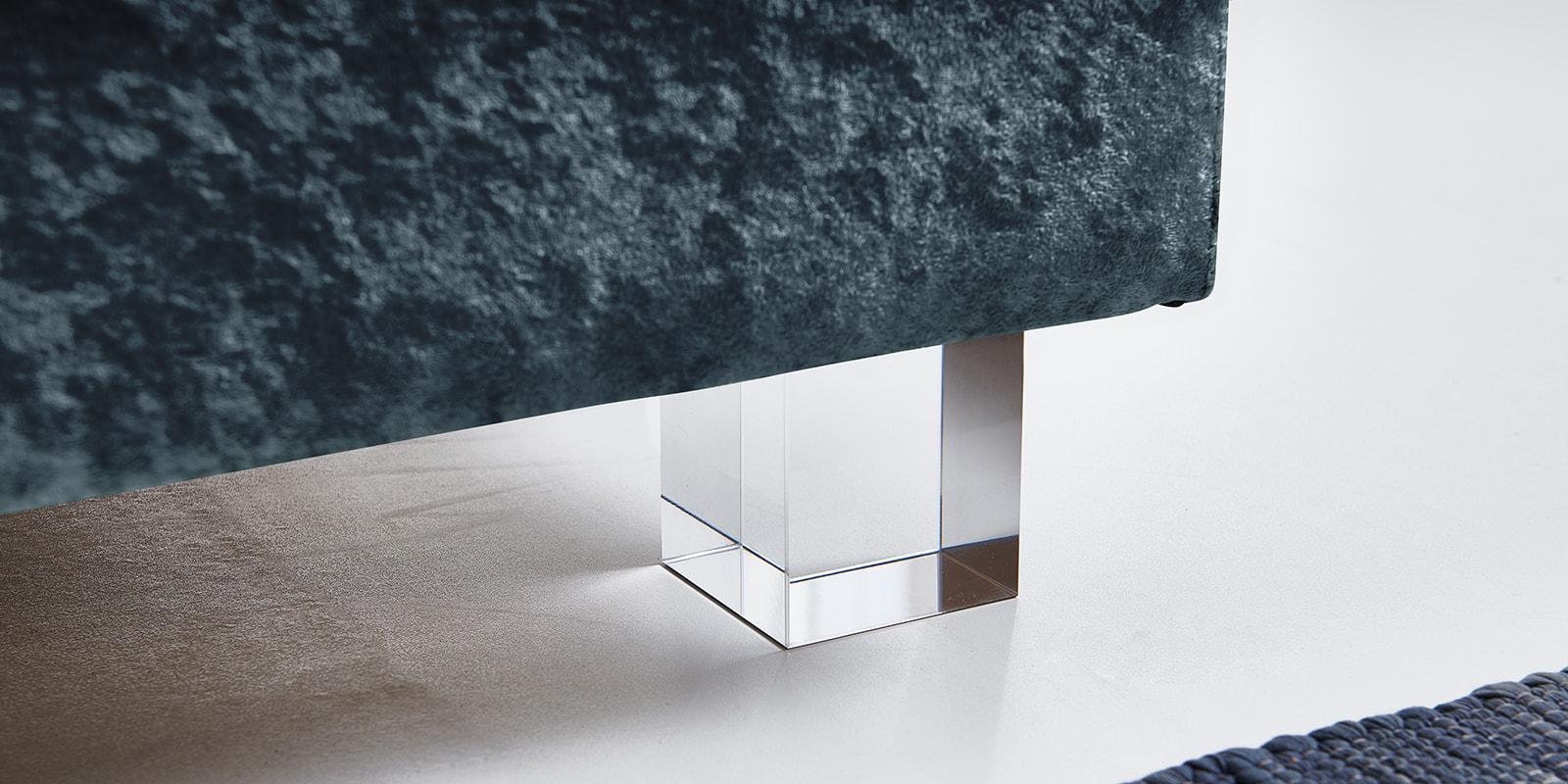 Moebella24 - Boxspringbett - Petrol - Samt - Acryl Füße eckig - Glas Optik