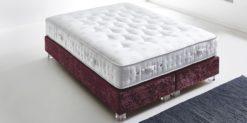 Moebella24 - Boxspringbett ohne Kopfteil in Violett mit Acryl-Füße in Glasoptik