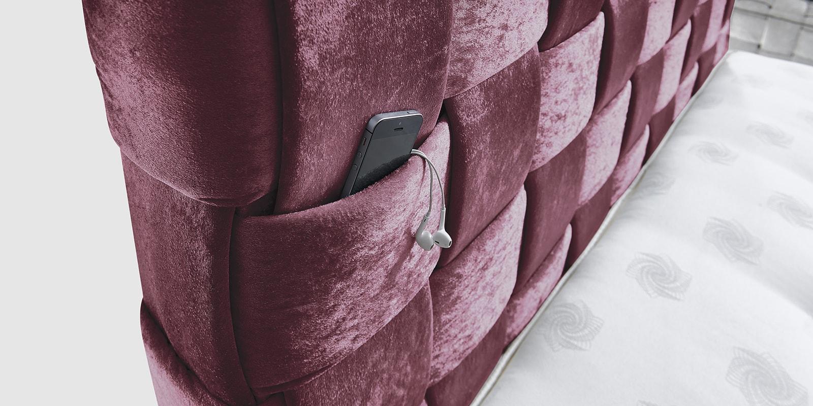 Moebella24 - Boxspringbett - Wales - Kopfteil - Hand geflochten - Samt - Violett - glaenzend
