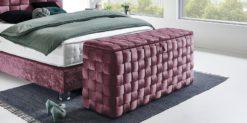 Moebella24 - Sitzbank mit Stauraum - Wales - Violett - Samt - glaenzend - Hand geflochten