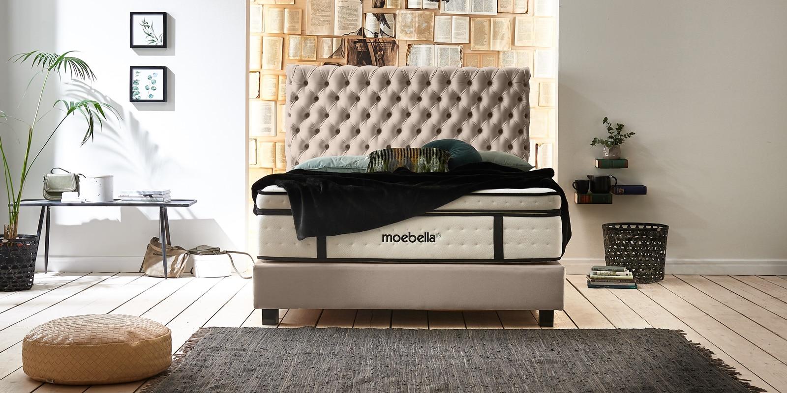 Moebella24 - Boxspringbett Roma - Chesterfield Stil mit Knopfheftung - XXL-Matratze - Velour beige - von vorne