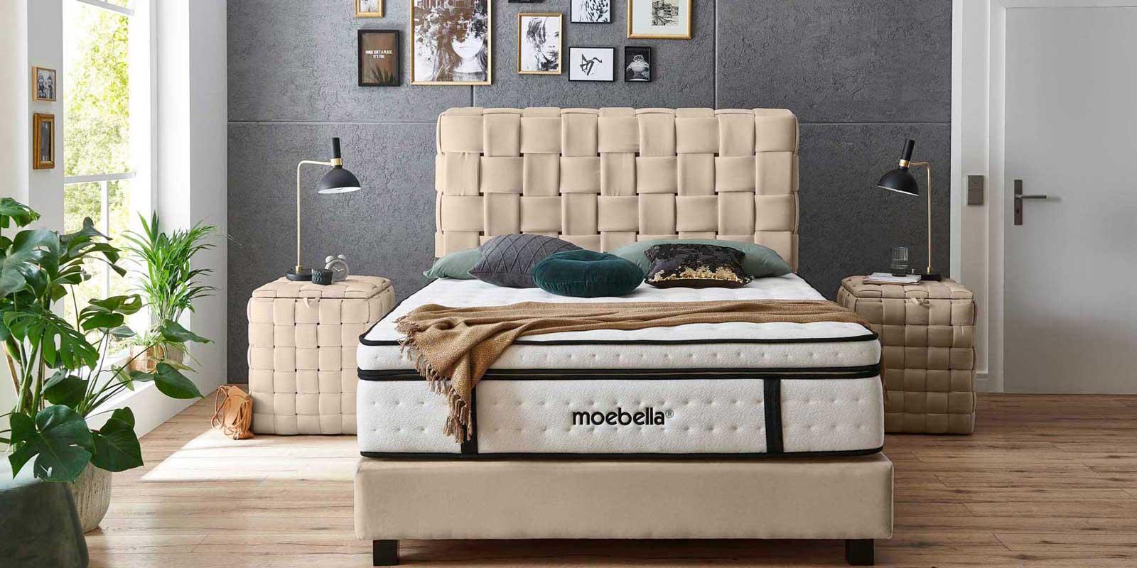Moebella24 - Boxspringbett Wales - Kopfteil geflochten - Nachttisch Wales - handgeflochten passend für das Boxspringbett - velour beige von vorne