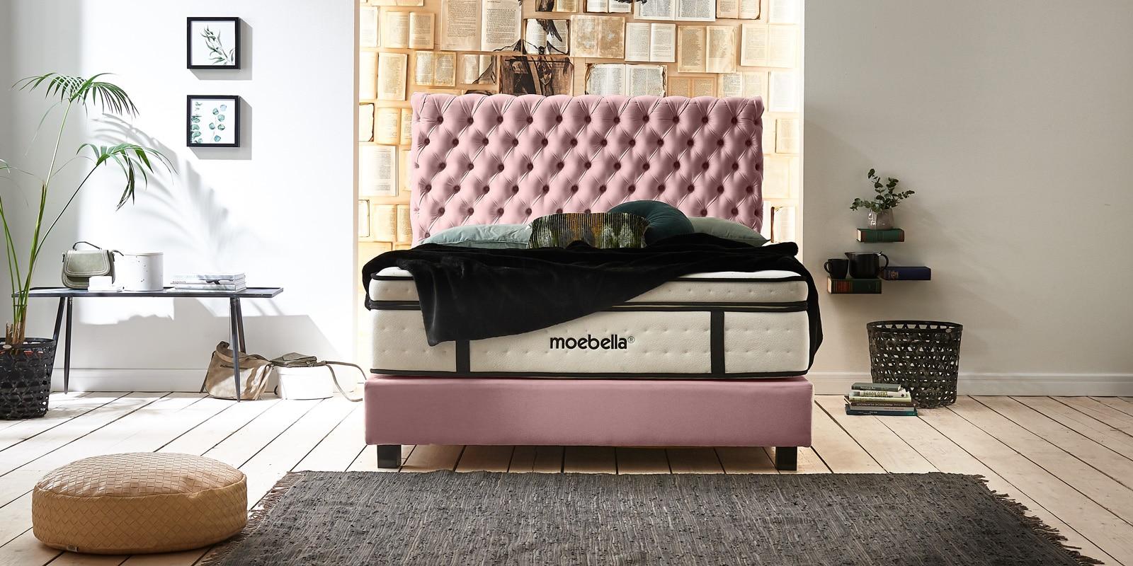 Moebella24 - Boxspringbett Roma - Chesterfield Stil mit Knopfheftung - XXL-Matratze - Velour rose - von vorne