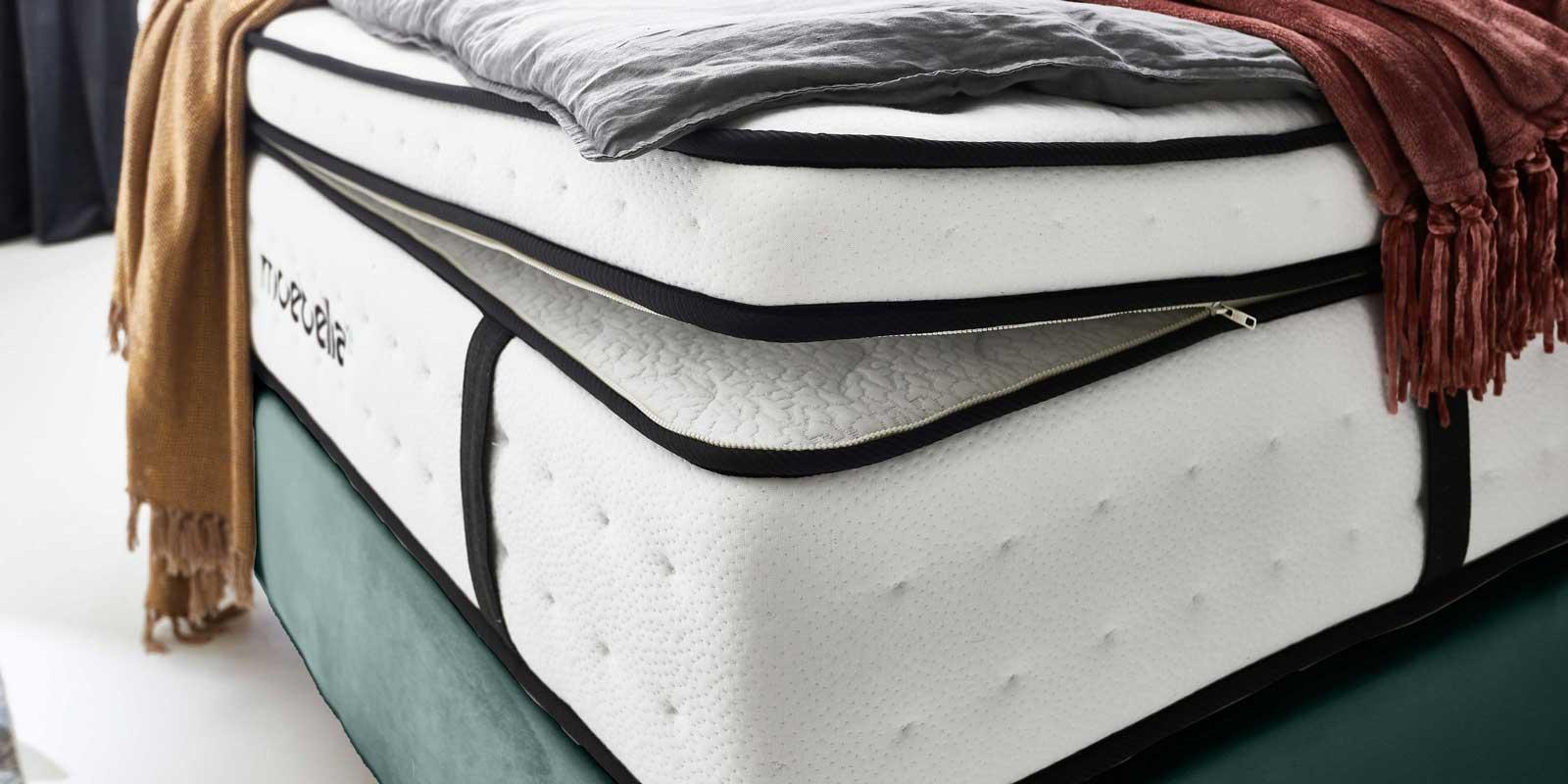 Moebella24 - Matratze - mit - Topper - Premium Matratze -7 - Zonen - Taschenfederkern - Topper abnehmbar - Boxspringbett -Von vorne rechts