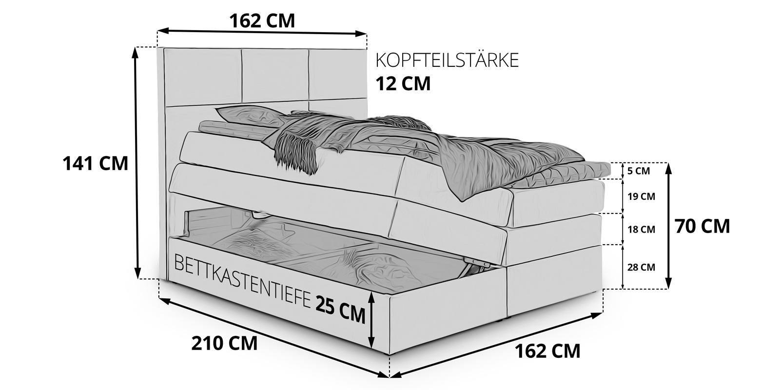 Boxspringbett Weiss Bettkasten Stauraum York 160x200 Skizze