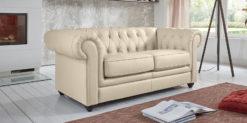 Moebella24 - Chesterfield - 2-Sitzer - Sofa - Winston - Beige - Echtleder - mit - Knopfheftung