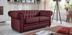 Moebella24 - Chesterfield - 2-Sitzer - Sofa - Winston - Rot - Echtleder - mit - Knopfheftung