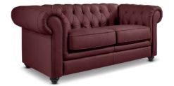 Moebella24 - Chesterfield - 2-Sitzer - Sofa - Winston - Schwarz - Echtleder - mit - Knopfheftung - Detailaufnahme
