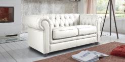 Moebella24 - Chesterfield - 2-Sitzer - Sofa - Winston - Weiß - Echtleder - mit - Knopfheftung