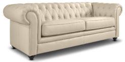 Moebella24 - Chesterfield - 3-Sitzer - Sofa - Winston - Beige - Echtleder - mit - Knopfheftung - Detailaufnahme