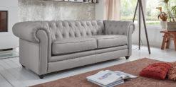 Moebella24 - Chesterfield - 3-Sitzer - Sofa - Winston - Hellgrau - Echtleder - mit - Knopfheftung