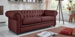 Moebella24 - Chesterfield - 3-Sitzer - Sofa - Winston - Rot - Echtleder - mit - Knopfheftung