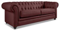 Moebella24 - Chesterfield - 3-Sitzer - Sofa - Winston - Rot - Echtleder - mit - Knopfheftung - Detailaufnahme