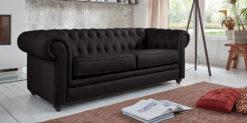 Moebella24 - Chesterfield - 3-Sitzer - Sofa - Winston - Schwarz - Echtleder - mit - Knopfheftung