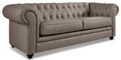 Moebella24 - Chesterfield - 3-Sitzer - Sofa - Winston - Taupe - Echtleder - mit - Knopfheftung - Detailaufnahme