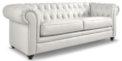 Moebella24 - Chesterfield - 3-Sitzer - Sofa - Winston - Weiß - Echtleder - mit - Knopfheftung - Detailaufnahme