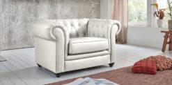 Moebella24 - Chesterfield - 1-Sitzer - Sessel - Sofa - Winston - Weiß - Echtleder - mit - Knopfheftung