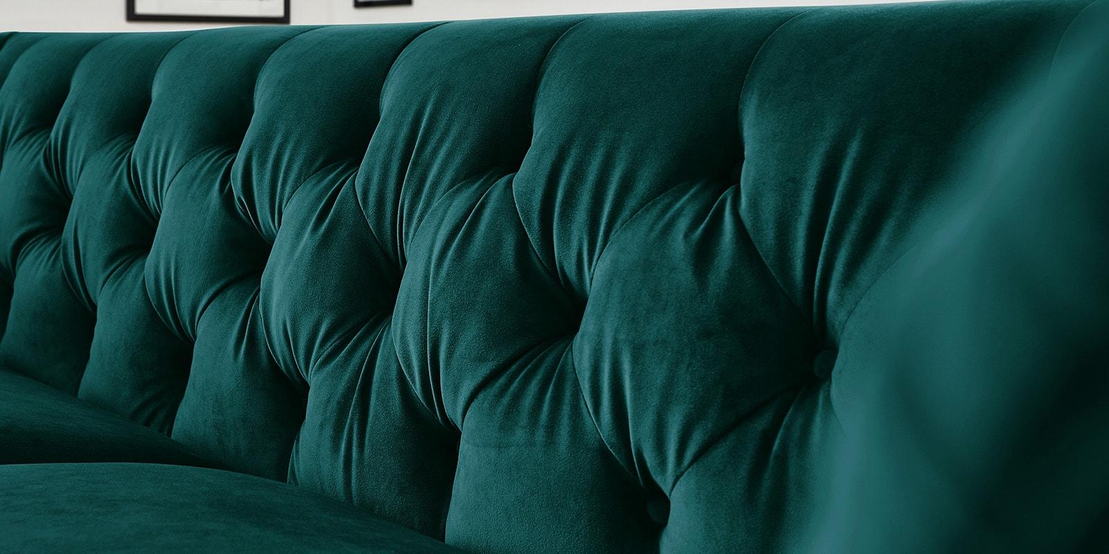 Moebella24 - 3-2-1-Sitzer - Sofa - Hudson - Chesterfield - Samt - Petrol - Dekorative - Nähte - und - Versteppungen - Knopfheftung - Detailaufnahme