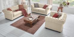 Moebella24 - Chesterfield - 3-2-1-Sitzer - Sofa - Winston - Beige - Echtleder - mit - Knopfheftung