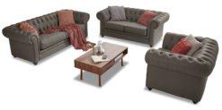 Moebella24 - Chesterfield - 3-2-1-Sitzer - Sofa - Winston - Grau - Echtleder - mit - Knopfheftung