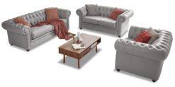 Moebella24 - Chesterfield - 3-2-1-Sitzer - Sofa - Winston - Hellgrau - Echtleder - mit - Knopfheftung