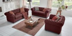 Moebella24 - Chesterfield - 3-2-1-Sitzer - Sofa - Winston - Rot - Echtleder - mit - Knopfheftung