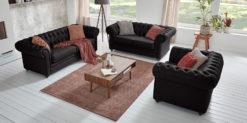Moebella24 - Chesterfield - 3-2-1-Sitzer - Sofa - Winston - Schwarz - Echtleder - mit - Knopfheftung