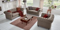Moebella24 - Chesterfield - 3-2-1-Sitzer - Sofa - Winston - Taupe - Echtleder - mit - Knopfheftung