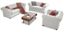 Moebella24 - Chesterfield - 3-2-1-Sitzer - Sofa - Winston - Weiß - Echtleder - mit - Knopfheftung
