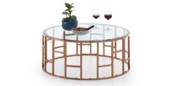 Moebella24 - Couchtisch alegra - runder Glastisch in rosegold