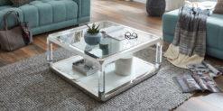 Moebella24 - Couchtisch escoba - quadratischer Glastisch mit acrylsäulen in Chrom - Milieu Bild