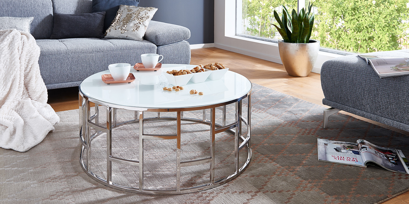 couchtisch glastisch couchtisch leuchte modern rund finke. Black Bedroom Furniture Sets. Home Design Ideas