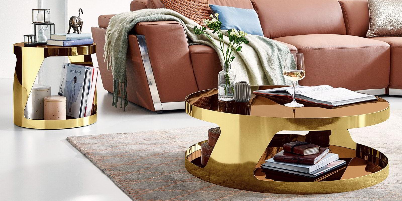 Wohnzimmer Chrommöbel rund gold Kairo