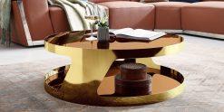 Designer Couchtisch Chrom gold rund poliert Glasplatte Kairo