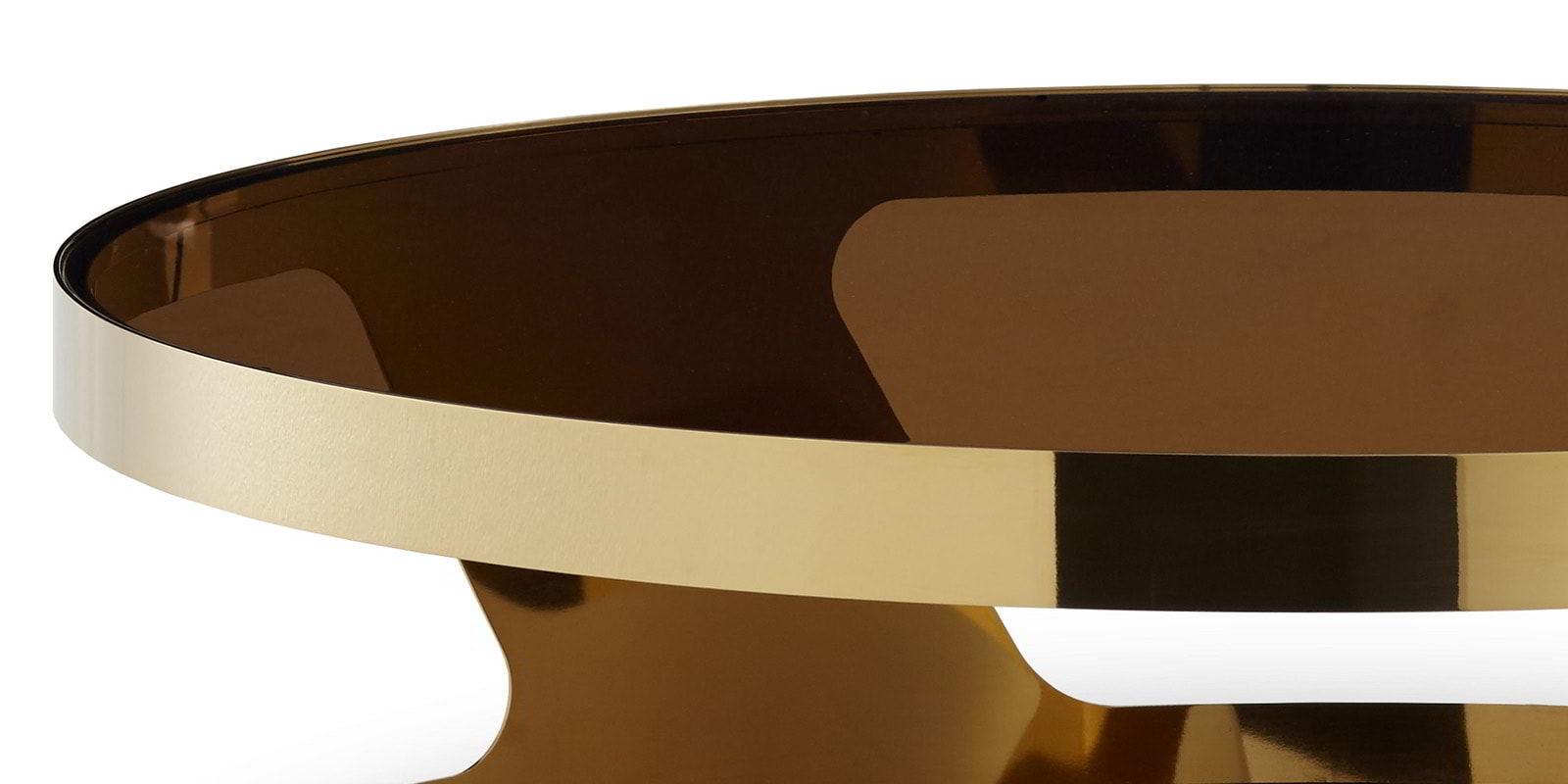 Couchtisch mit Glasplatte Chrom gold rund Kairo