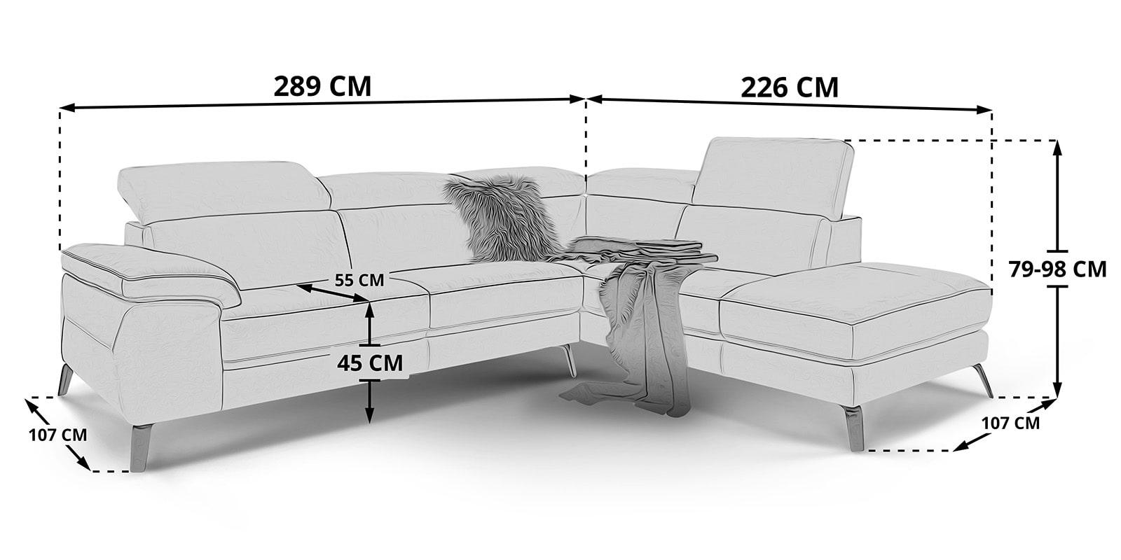 Moebella24 - Ecksofa - Gusti - Skizze - Maße - Leder - Standard - Verstellbare - Kopfstützen -